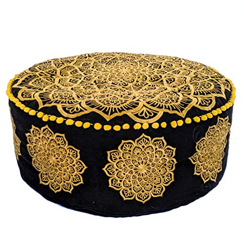 Mandala Life ART Bohemian Golden Black Stuffed Yoga Decor Floor Cushion - 24x8 inches - Square Meditation Pillow - Printed Cotton Pouf - Goldon Black