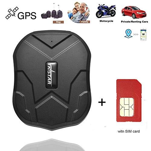 GPS Tracker avec Carte SIM, Suivi en Temps réel étanche Localisateur GPS Professionnel Voiture d'alarme avec Alarme pour Camion de Voiture Moto Freezer Boat avec APP Gratuite (5000 mah)