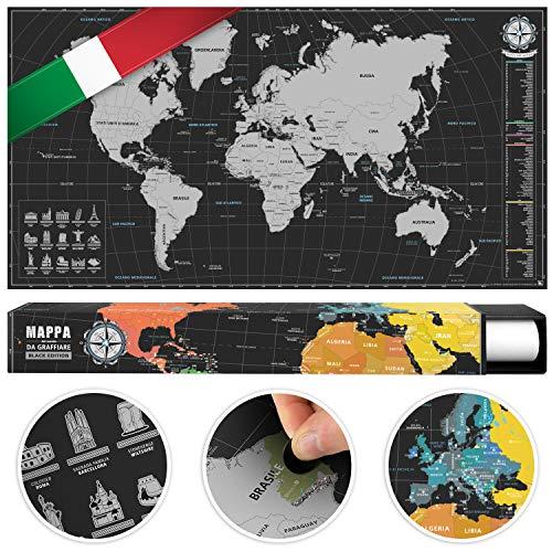 #benehacks Planisfero Mondo da grattare Poster Mappa del Mondo in Italiano – Cartina geografica da Utilizzare Come diario da Viaggio – Cartina Mondo – Argento/Nero 84 x 44 cm
