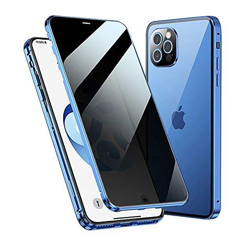 Jonwelsy Anti Espía Funda para iPhone 12 Pro (6,1'), 360 Grados Protección Case Ambos Lados Vidrio Templado de Privacidad Cubierta, Adsorción Magnética Parachoques de Metal Carcasa (Azul)