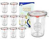 9er Set Original WECK 3/4-Liter Sturzglas, 850 ml, Rundrandglas RR100 + Glasdeckel + Dichtring + Weck-Klammern + GRATIS Rezeptheft, Einmachglas, Einkoch-Set, Einlegen, Einwecken + Konservieren, Glas