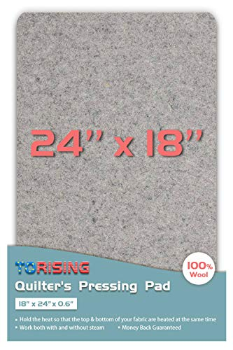 """18"""" x 24"""" x 0.6"""" Wool Ironing Quilter's Pressing Pad Mat- 100% Wool for Professional Ironing Portable Quilting Heat Press Pad for Traveling, Camping, College Top Craft, Sewing, Embroidery Iron Pad"""