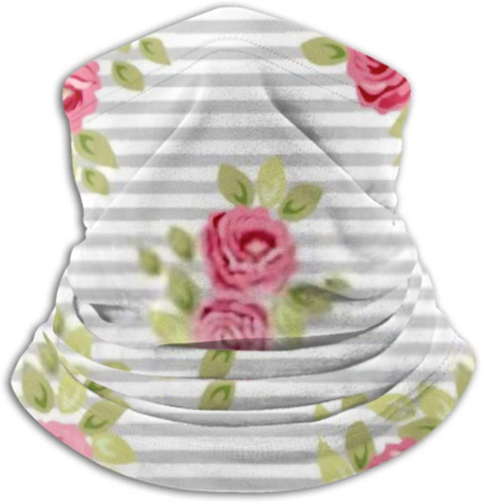 Fleece Neck Warmer ,multifunctional Cute Seamless Shabby Chic Pattern Roses Scarf,Neck Gaiter, Neck Cap, Neck Scarf, Balaclava, Headwear, Bandana,