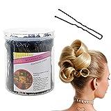 200 pièces épingles à cheveux en forme de U pinces à cheveux avec boîte de rangement chignon épingle à cheveux en métal accessoires de coiffure pour filles et les femmes noir (6CM / 2,36 pouces)