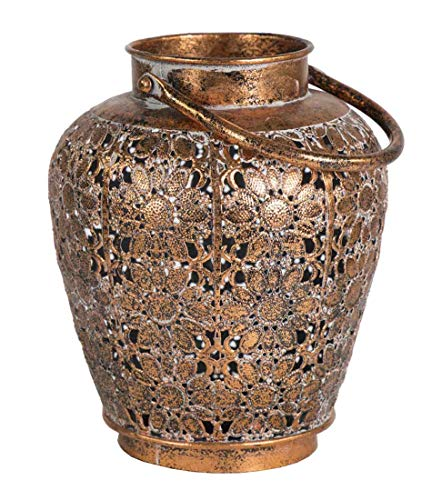 Decoratieve decoratieve lantaarn metaal koperkleurig H 21 cm D 19 cm kandelaar theelichthouder lantaarn