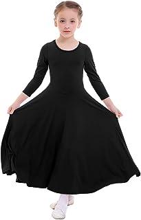 Niñas Vestido adoración Danza Vestido de Alabanza Iglesia Litúrgico Disfraces de Baile para Chicas Manga Larga Color Sólido Flamenco Maillot Vestido de Fiesta 3-14 años