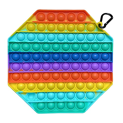 Big Size Push Pop Bubble Fidget Sensory Toy,Stress Reliever Silicone Sensory Toy, Colorful Stress Reliever Toys for Kids and Adults (Octagon)