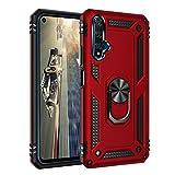 HAOYE Funda para Huawei Nova 5T, Anillo de 360 Grados de Metal [Soporte de Coche Magnético Compatible], Hard PC y Silicona TPU Shock Carcasa. Rojo