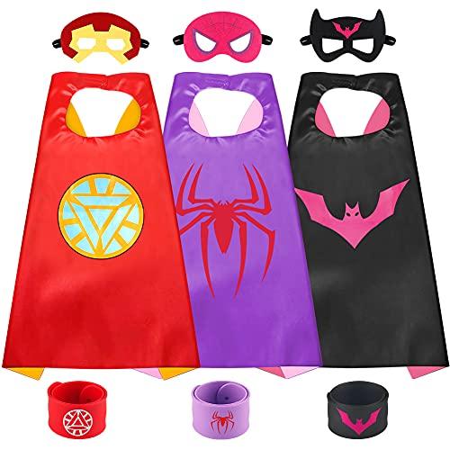 Sinoeem Capa de Superhéroe para Niños - 3 Capa y 3 Máscaras y 3 Slap Pulseras - Ideas Kit de Valor de Cosplay de Diseño de Fiesta de Cumpleaños de Navidad - Juguetes para Niños y Niñas (B)