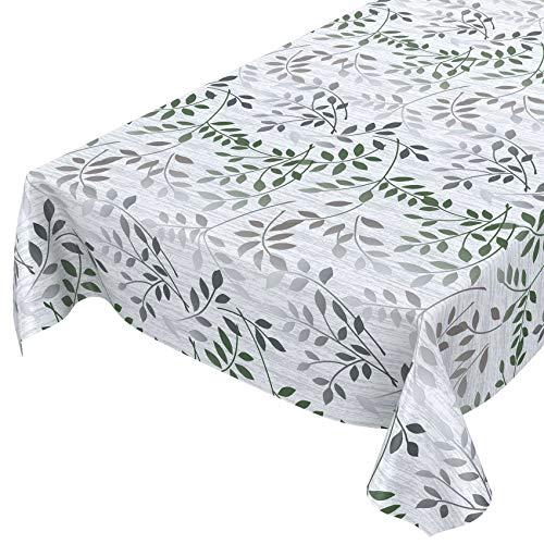 ANRO Tischdecke Wachstuch abwaschbar Wachstuchtischdecke Wachstischdecke Blätter Silber Grün 180x140cm
