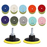 BTNTVEN 14pcs 3 Inch Diamond Wet Polishing Pads Set, 50#-3000# Grit Pads with Hook and Loop Backing Holder Pads with 8mm M14 Drill Adapter for Granite Stone Concrete Marble Floor Grinder or Polisher