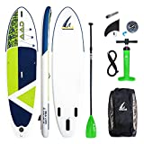 AKD Germany Sea Lion Stand Up Paddling Board Aufblasbarer Sup, Hochdruck-Pumpe mit Manometer, Sport Alu-Paddel Verstellbar,Rucksack. 310cm x81cm x15cm (Grasgrün)