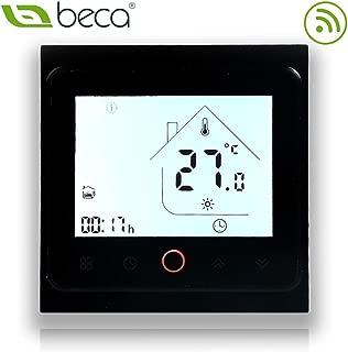 BECA 002 Serie 3 / 16A Pantalla táctil LCD Agua/Calefacción eléctrica/Caldera Termostato de control de programación inteligente con conexión WIFI (Calentamiento de agua, Negro completo)