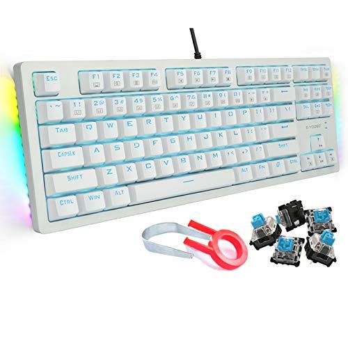 E-YOOSO ゲーミングキーボード メカニカル青軸 英語配列 全キーロールオーバー 有線 92キーコンパクト テンキーレス 1680万色RGB両側ライト/青色LEDバックライト 18ヶ月メーカー保証 角度調節と防水機能付き 18ヶ月メーカー保証 Windows/Mac OS対応 オフィス/ゲーミング用-ホワイト