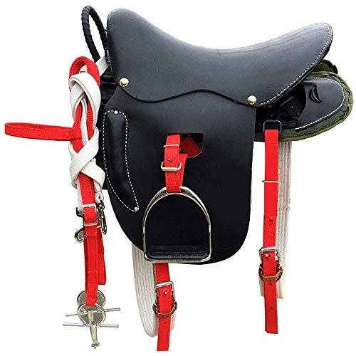 KDKDA Premium Black Leather Englisch All Purpose Jumping Horse Saddle TACK Starter Package Set Möbel Anzeige Sattel Dekoration Hocker pflanzlich gegerbtes Leder Full Set