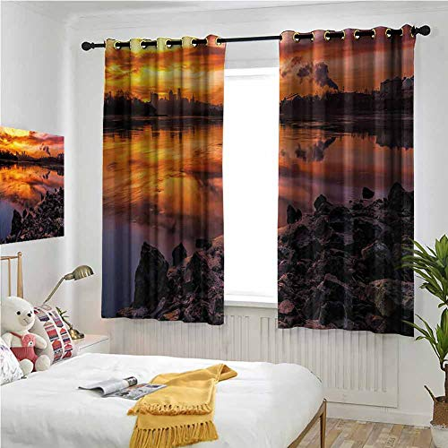 Multicolor Grommet Curtains 55 Inch Lenght, Landscape Window Curtains 2 Panel 63x55 Inch Usa Missouri Kansas City Scenery of a Sunset Lake Nature Camping Themed Art Photo Noise Cancelling Curtain