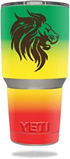 MightySkins Skin Compatible with Yeti 30 oz Tumbler - Rasta Lion   Protective, Durable, and Unique Vinyl Decal wrap Cover   Easy to Apply, Remove, and Change Styles   Made in The USA