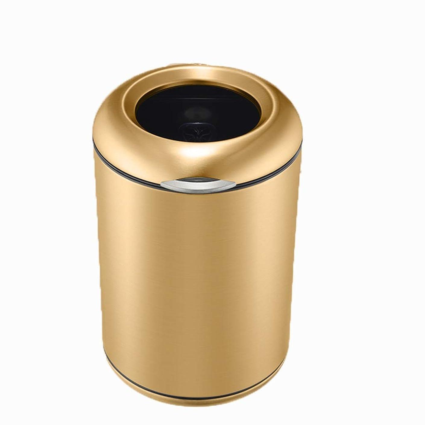 以前は不正郵便屋さんゴミ箱ステンレス鋼ゴミ箱丸型デザインなしカバー圧力リング固定ゴミ袋簡単に掃除ホームリビングルームベッドルームキッチンバスルームトイレ Gaozs (Color : Gold)