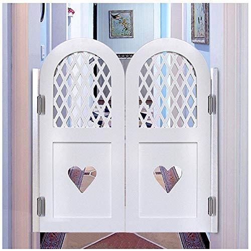 GuoWei Saloon Door Cafe Door Swinging Door Pine Wood Bar Restaurant Kitchen Closet Entrance Doorway Partition, Hinge Included, Support Size Customize (Color : White, Size : 80vmx90cm)