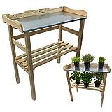 Mesa de jardín de 82x 78x 38cm, de madera natural con