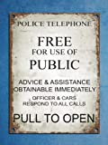 Blechschild Warnschild Retro Vintage Style Police Phone Box