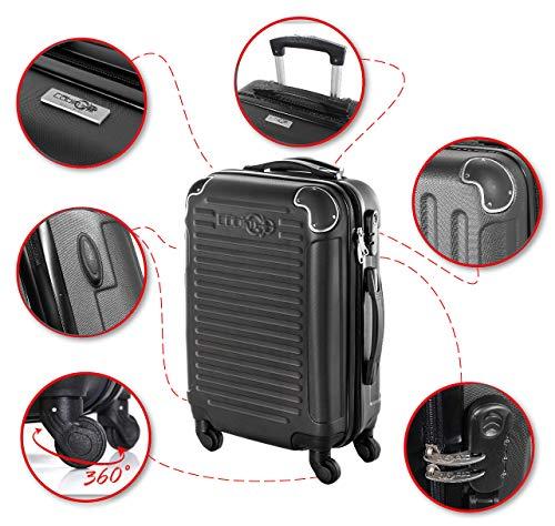 CABIN GO MAX 5575 Valigia Trolley rigido in ABS grande valigia con ruote, Idoneo Ryanair e Easyjet 55x40x20, Bagaglio a Mano Ultra Leggero in ABS con Chiusura TSA