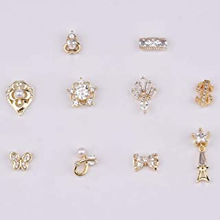 10pcs 3d Gold Crown Butterfly Zircons Diamond Nail Charm Dollar Signs Design Crystal Bow Shapes Decoration Jewelry Accessories Supplies