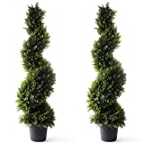 Bornbridge Artificial Spiral Topiary Tree - Indoor / Outdoor Topiary Trees - Artificial Outdoor Plants (2 Pack, 4' Cypress)