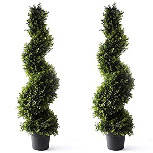 Bornbridge Artificial Spiral Topiary Tree – Indoor / Outdoor Topiary Trees – Artificial Outdoor Plants (2 Pack, 4′ Cypress)