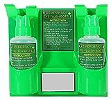 Pared de plástico montado en la estación de Lavaojos de Emergencia Laboratorio de lavado de ojos con la piel Lavar la cara de ducha de plástico de doble botella vacía ideal for su uso en cualquier ent