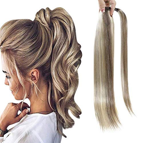 Fshine Ponytail Extensions Real Human Hair 14 Inch One Hairpiece With Magic Paste Highlight Color 8 Ash Brown And 60 Platinum Blonde Best Quality Ponytail 70 Gram Wrap Around Ponytail With Comb