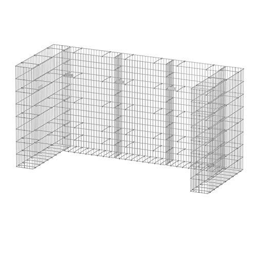 bellissa Gabionen-Mülltonnenverkleidung für 3 Tonnen - 98284 - Mülltonnenbox U-förmig - 5-teiliger, erweiterbarer Bausatz - 242 x 101,5 x 120 cm