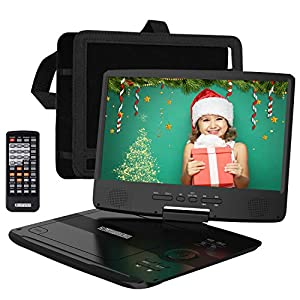 Portable DVD Player with 5 Hrs Rechargeable Battery, Unique Design for Dual Use Purpose, 10.1″ HD Swivel Screen, Car Headrest Case, Remote Control, Car Charger, USB/SD Card Reader