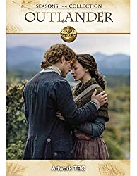 Promotional image for Outlander showing Sam Heughan as Jamie embracing Caitriona Balfe as Claire