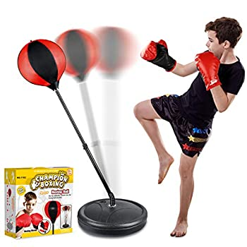 Punching Bag Set for Kids Incl Punching Ball with Stand Boxing Training Gloves Hand Pump and Adjustable Height Stand Boxing Ball Set Toy Gifts for Age 3 4 5 6 7 8-10 Year Old Boys Girls