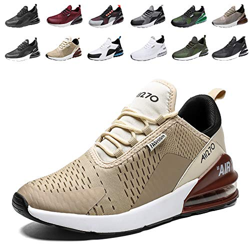 populalar Laufschuhe Herren Damen Turnschuhe Sportschuhe Straßenlaufschuhe Sneaker Atmungsaktiv Trainer für Running Fitness Gym Outdoor Leichte 8GoldBraunWeiß 43EU