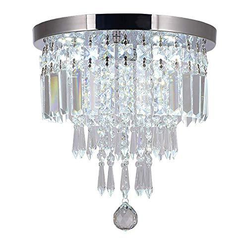 Living Equipment Modern Transparent Crystal Pendant Light LED Luxury Decoration Flush Mount Ceiling Light Round Ceiling Lamp for Living Room Corridor Round 30cm(12inch)