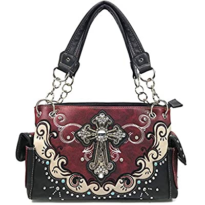 Justin West Mustang Cross Handbag Purse For Girls Women Concealed Carry (Red Handbag Only)