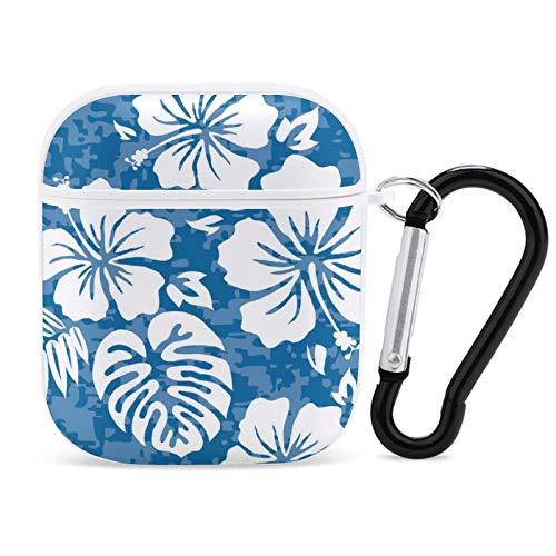 Estuche Hibiscus Blue AirPods, Kit de Accesorios de Cubierta de Auriculares Airpods a Prueba de Golpes para Apple AirPods 1/2