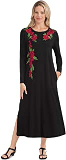 Black Long Sleeve Knit Dress with Red Rose Floral AppliquÃ, Scoop Neckline, Pockets - 49