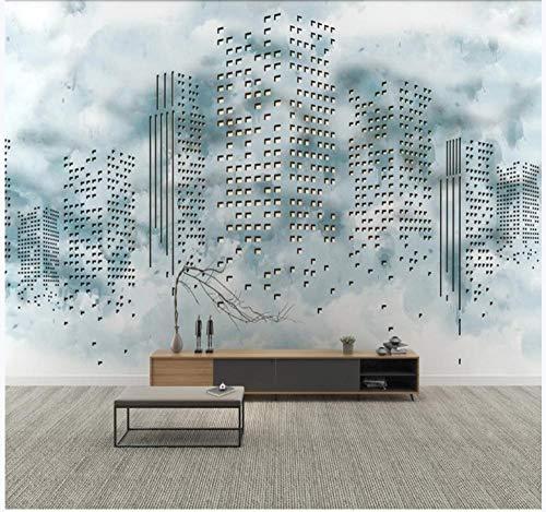 Papel pintado 3D personalizado mosaico azul blanco edificio mural personalizado 3D alta resolución textura imagen - Mural de pared extraíble 99x69 pulgadas 10x0.53m (393.7x20.9 pulgadas)