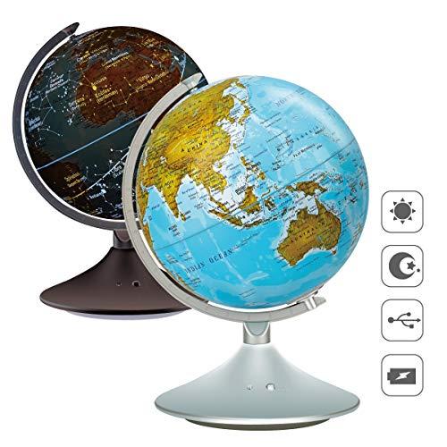VIDAR 9'' Ography Illuminated World Globe, Desktop LED Constellation Globe & Nightlight with Stand, Decorative Constellation Globe for Kids and Adults, Globe Decorations with Led for Office and Home