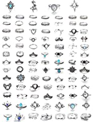 GREAT VALUE--101 Pcs Vintage Rings Come as a Set, Economical and Affordable; You can Wear it as Model or as You Like, Various Styles can Match Your Different Outfits. DESIGN--The combination of fashion and classic.Bohemian ring set jewelry is a great...