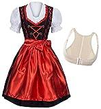 Gaudi-Leathers Dirndl Set 3 TLG.schwarz mit rot Stickerei, Hakenverschluß + Push Up Büstenhebe BH 44 XXL