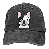 Dog Black Trucker Hats for Men Adjustable French Bulldog Dog Vintage Baseball Cap Cotton Low Profile Washed Dad Hat for Women Outdoors Sports Girls Boys Unisex