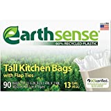 Earthsense Recycled Can Liners, 13 Gallons, White, 90 Bags/Box (GES6K90)