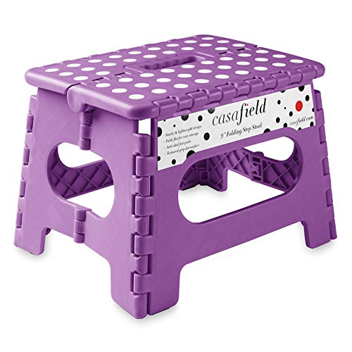 Casafield 9' Folding Step Stool with Handle, Purple - Portable Collapsible Small Plastic Foot Stool for Kids and Adults - Use in The Kitchen, Bathroom and Bedroom