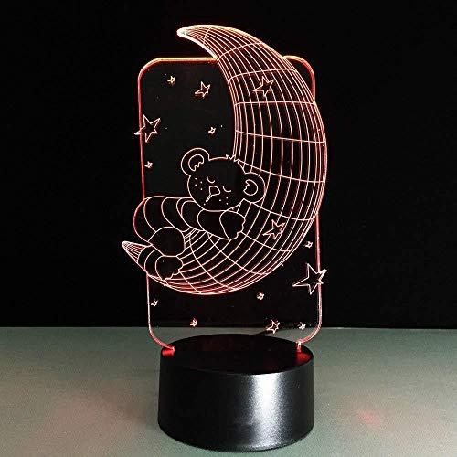 Lámpara 3D ilusión LED Luz de Noche Estrella Lunar para hombres, mujeres, niños, niñas, regalo Con interfaz USB, cambio de color colorido