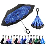 ZOMAKE Paraguas de Doble Capa Invertido, Paraguas Plegable Reversible con Protección...