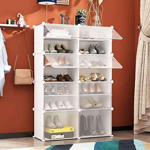 HOMEYFINE Zapatero, Cubos de Armario modulares para Ahorrar Espacio, Sostén de Almacenamiento portátil de Zapatos, Cajas de Almacenamiento de Zapatos y Zapatillas, Blanco(2/7)